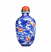 A BLUE AND WHITE -IRON-RED SNUFF BOTTLE