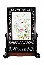 A FAMILLE-ROSE WOOD TABLE SCREEN
