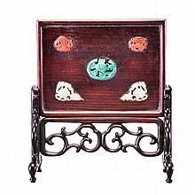 A SMALL JADE AND STONE INLAID SCREEN