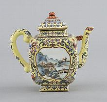 A YELLOW-GROUND FAMILLE-ROSE TEAPOT AND COVER