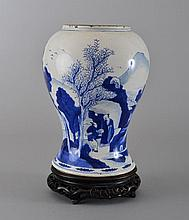 A BLUE AND WHITE 'FIGURE' VASE