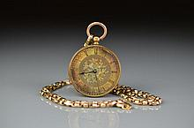 LADY'S YELLOW GOLD POCKET WATCH & CHAIN