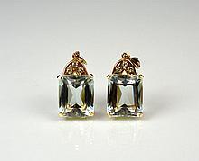 PAIR OF ROSE GOLD & AQUA GLASS EARRINGS