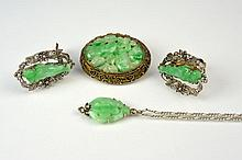 FOUR PIECES OF CHINESE JADEITE JEWELLERY
