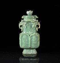 CHINESE CARVED GREEN JADE COVERED LOTUS VASE