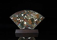 CHINESE SOAPSTONE AND MIXED MATERIAL FAN