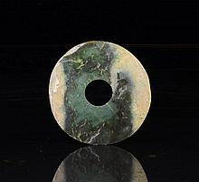 LARGE CHINESE NEOLITHIC GREEN JADE DISC, BI