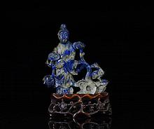 CHINESE CARVED LAPIS LAZULI FIGURAL GROUP
