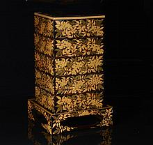 JAPANESE LACQUER JUBAKO FOOD BOX AND STAND
