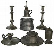 Collection of pewter inkwells, lighting