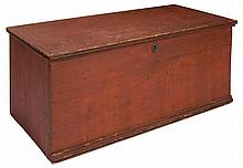 Red six-board chest, brass escutcheon