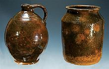Small ovoid Redware jug; and Redware jar