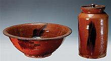 Redware bowl and jar, orange with manganese