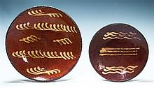 Two Redware plates, 8 1/2