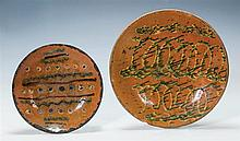 Two Redware plates, 11