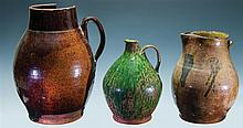 Redware: two pitchers & a jug (as is)