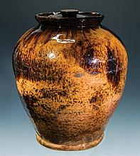 19th c. ovoid Redware crock