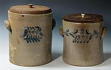 Two 19th c. stoneware crocks, wood lids