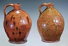 Two Redware ovoid jugs