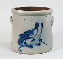 Two-gallon stoneware crock, bird on branch