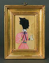 Hollow-cut silhouette, woman in pink dress