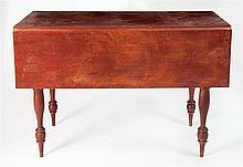 Drop leaf table in red paint