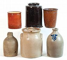 Three Redware jars, 2 stoneware jugs, lidded crock