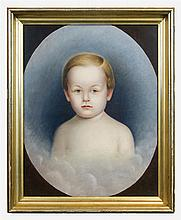 19th c. oval portrait of child