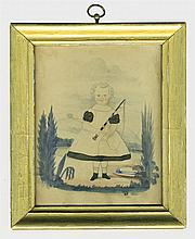 19th c. small w/c portrait of young child
