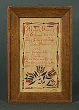 19th c. framed w/c fraktur birth record