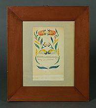 19th c. framed watercolor fraktur