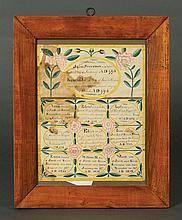 19th c. w/c calligraphic family register