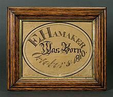 E. Hamaker calligraphic birth record
