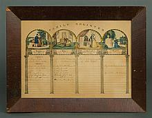 Pair of 19th c. litho Family Registers
