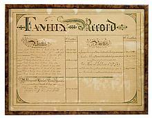 Calligraphic family record, Jos Varney & Sarah Beede