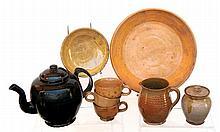 Eight ceramic pcs of redware and yelloware
