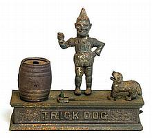 Monkey bank, trick dog, 'spise a mule' mechanical banks