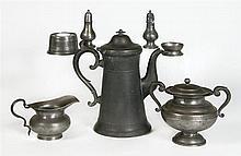Collection of pewter - teapot, sugar, bowl, salt, etc