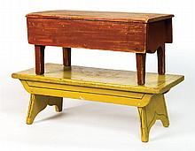 Two footstools (yellow and red)