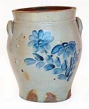 Four-gallon crock, flowers