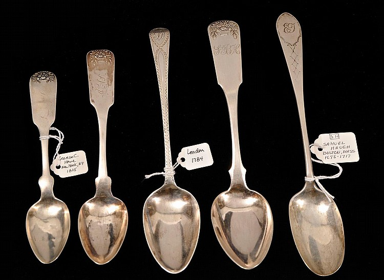 FIVE COIN SILVER SPOONS