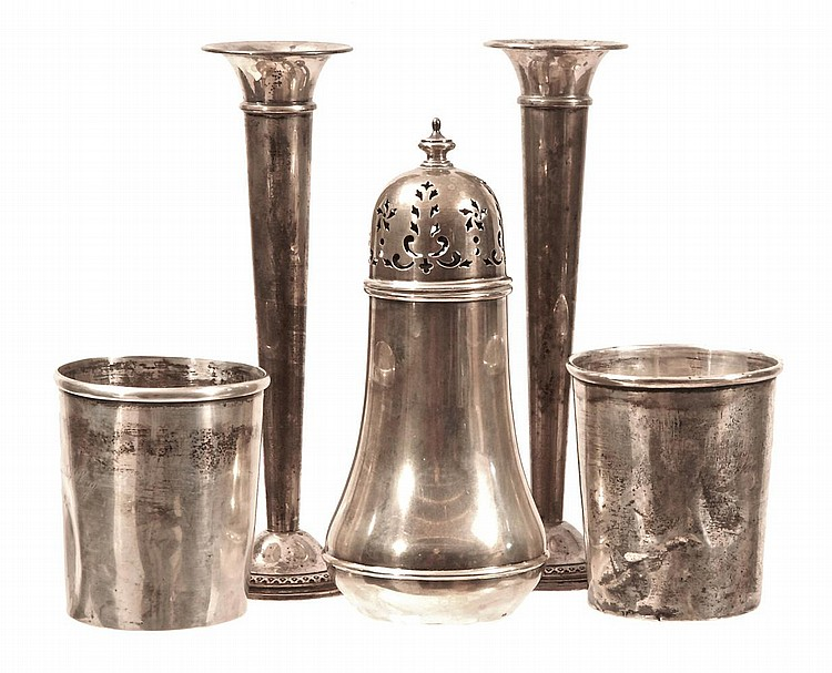 STERLING VASES, CUPS AND MUFFINEER