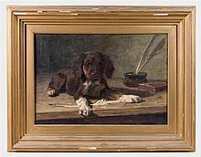 Still life oil of a puppy