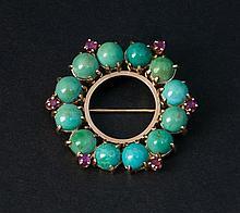 Circle pin and filigree brooch