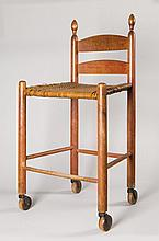 Rare weaver's chair w/ wheels