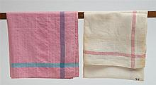 Two kerchiefs: pink w/blue; white w/red