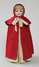 Shaker dressed doll (German), red cape w/beige dress