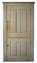 Tall cupboard in orig gray paint, 2 paneled doors