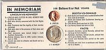 In Memoriam Lincoln 1c VS Kennedy Half Dollar Coins W52