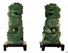 Chinese Jade Foo Dogs (PAIR) W190